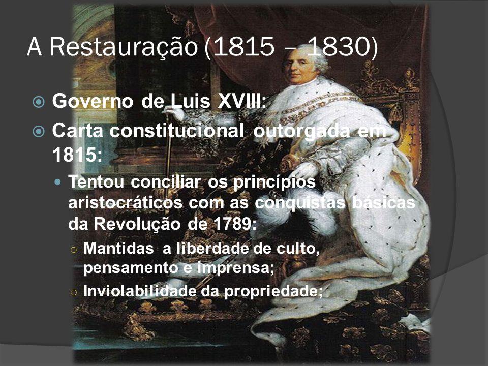 A Restauração (1815 – 1830) Governo de Luis XVIII: Carta constitucional outorgada em 1815: Tentou conciliar os princípios aristocráticos com as conqui