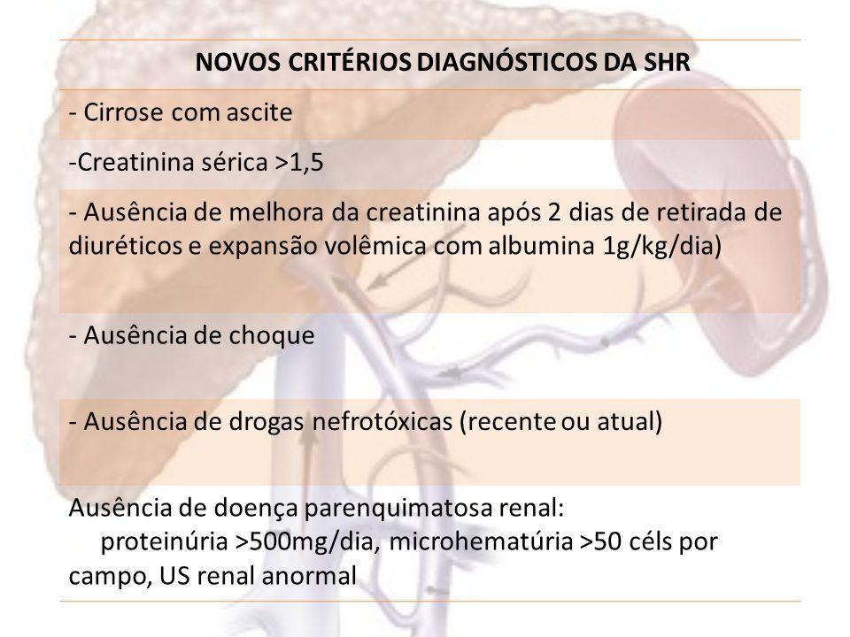 Síndrome Hepatorrenal - SHR Tratamento: – Conservador – Farmacológico – Cirúrgico – TRANSPLANTE HEPÁTICO