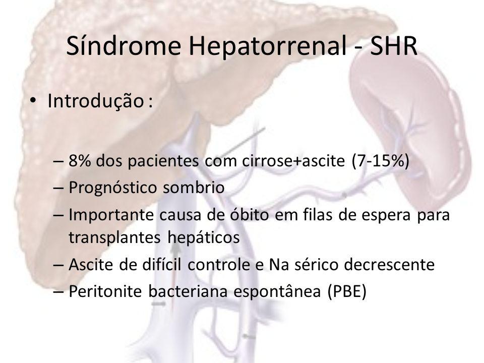 Síndrome Hepatorrenal-SHR Fisiopatologia: – Perda progressiva da função renal por: Vasoconstricção renal Vasodilatação extrarrenal (leito mesentérico) – Queda da resistência vascular periférica – Hipotensão arterial