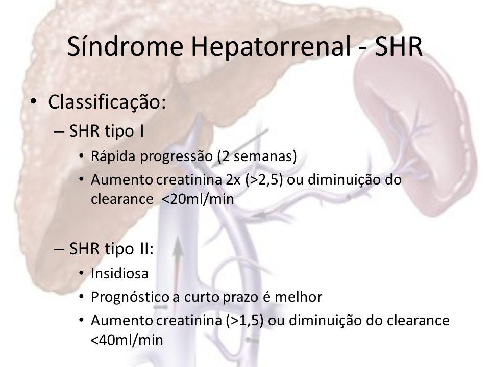 Síndrome Hepatorrenal - SHR Quadro clinico: – Decorrente da IR e alteração hemodinâmica – Achados de insuficiência hepática crônica – Tipo I: IRA oligúrica – Tipo II: ascite refratária a tratamento