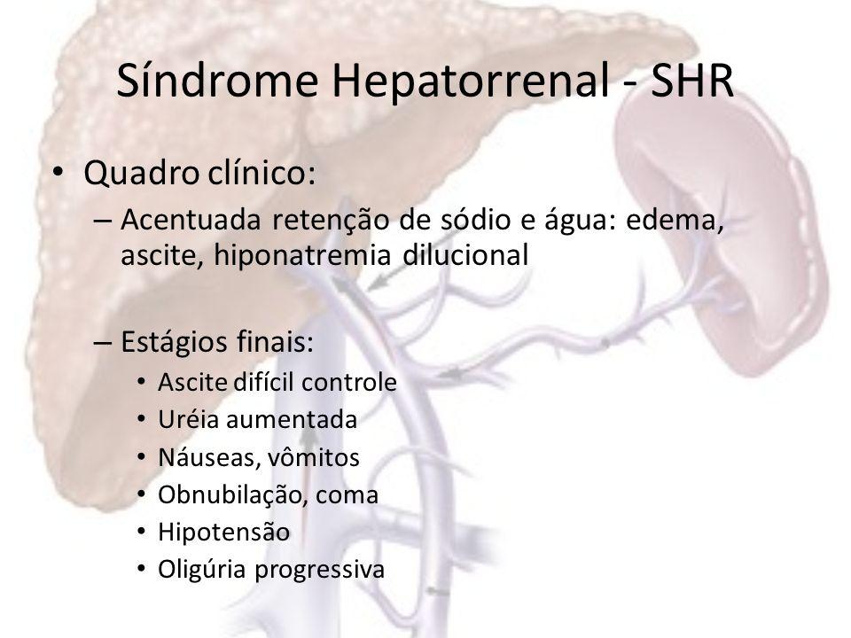 Síndrome Hepatorrenal - SHR Associação: –A–Azotemia –H–Hiponatremia –H–Hipotensão FASE TERMINAL –D–Dias a 6 semanas