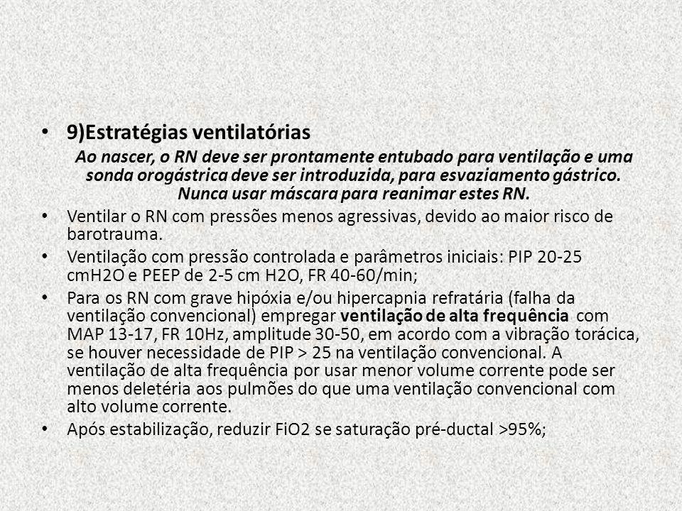 9)Estratégias ventilatórias Ao nascer, o RN deve ser prontamente entubado para ventilação e uma sonda orogástrica deve ser introduzida, para esvaziame