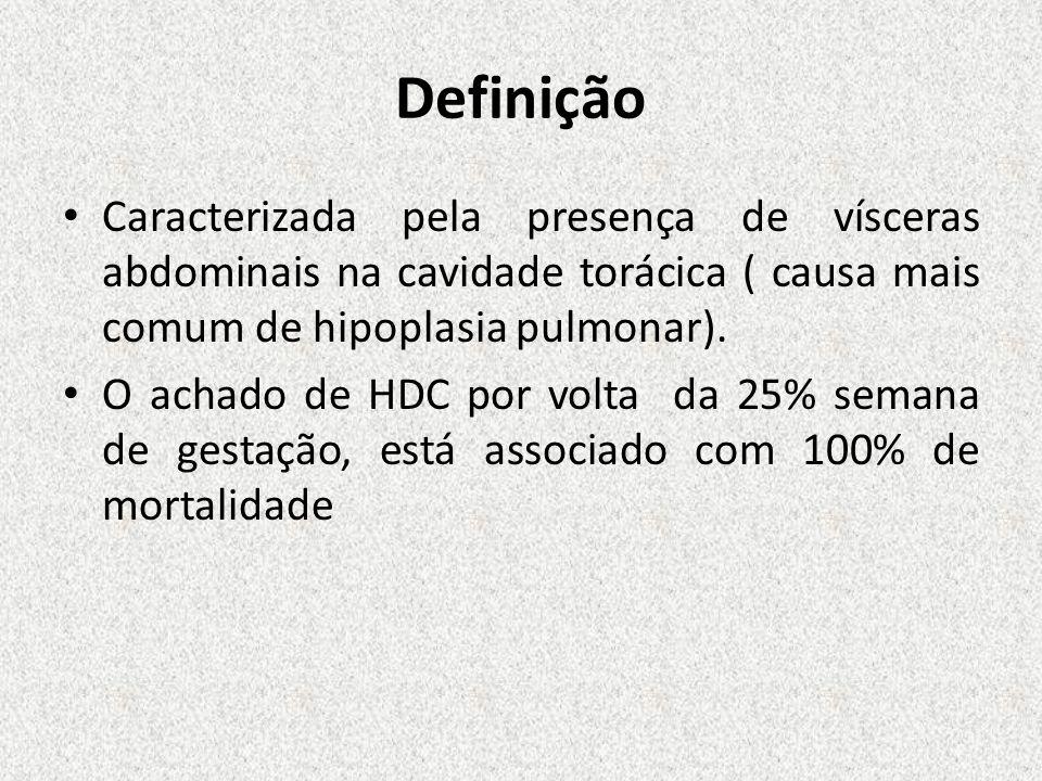 Definição Caracterizada pela presença de vísceras abdominais na cavidade torácica ( causa mais comum de hipoplasia pulmonar). O achado de HDC por volt