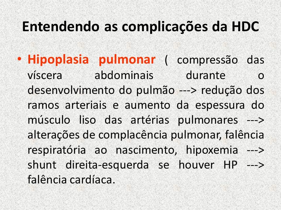 Entendendo as complicações da HDC Hipoplasia pulmonar ( compressão das víscera abdominais durante o desenvolvimento do pulmão ---> redução dos ramos a