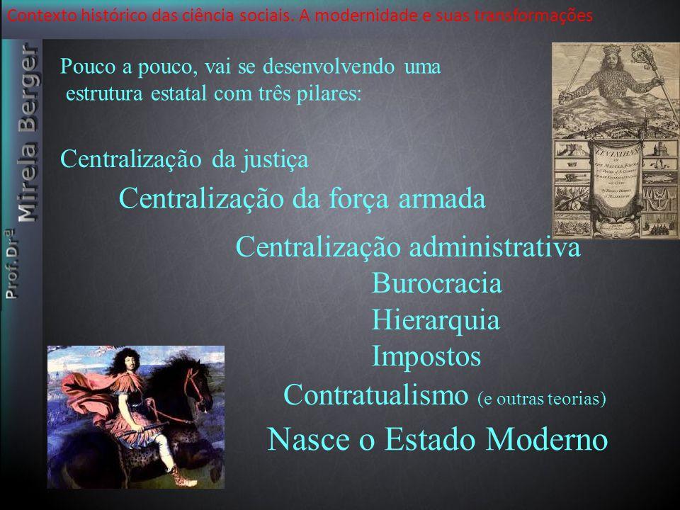 Contexto histórico das ciência sociais. A modernidade e suas transformações Nasce o Estado Moderno Pouco a pouco, vai se desenvolvendo uma estrutura e