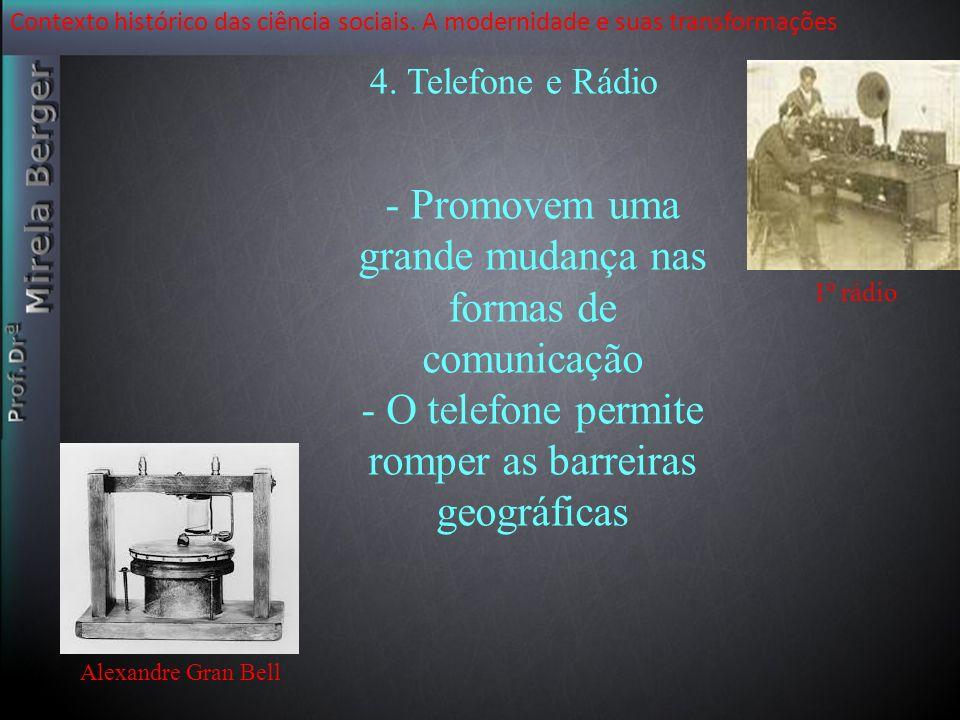 Contexto histórico das ciência sociais. A modernidade e suas transformações Alexandre Gran Bell - Promovem uma grande mudança nas formas de comunicaçã