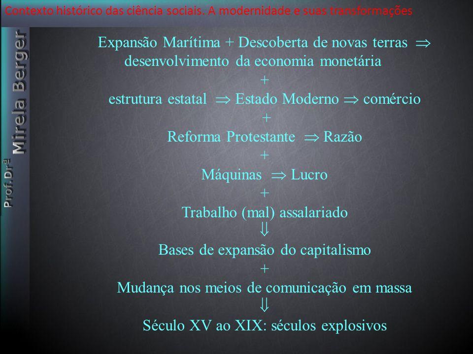 Expansão Marítima + Descoberta de novas terras desenvolvimento da economia monetária + estrutura estatal Estado Moderno comércio + Reforma Protestante