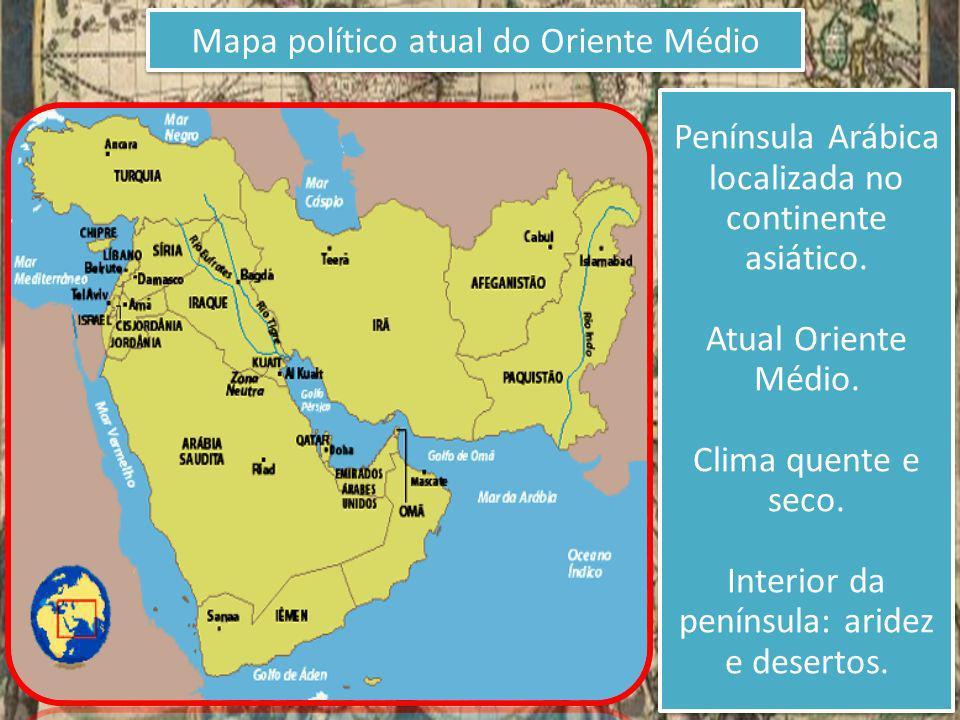 Mapa político atual do Oriente Médio Península Arábica localizada no continente asiático. Atual Oriente Médio. Clima quente e seco. Interior da peníns