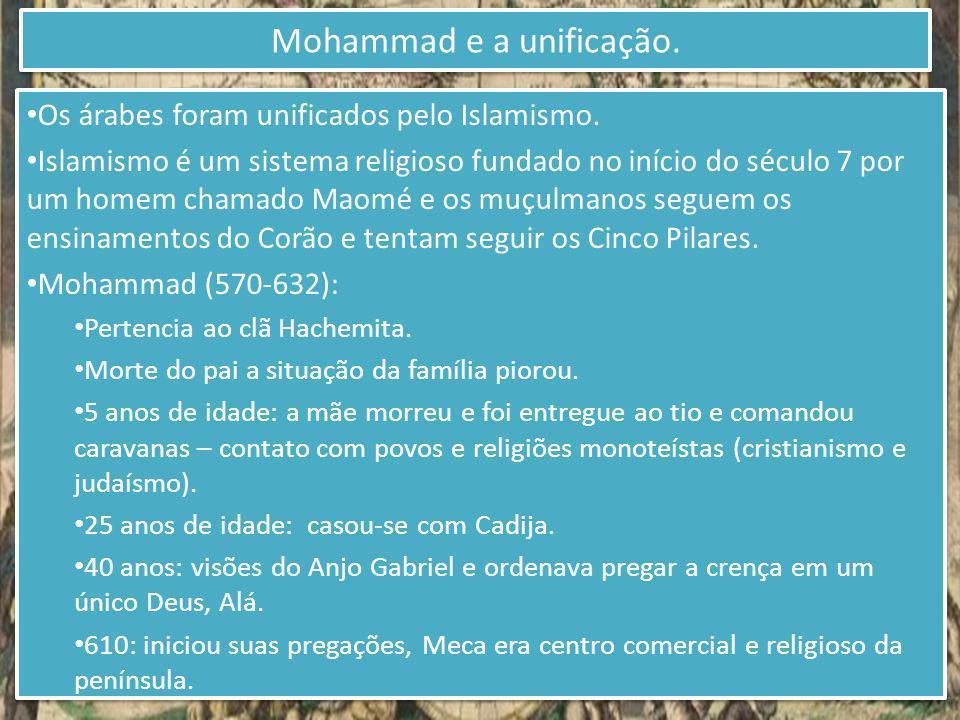 Os árabes foram unificados pelo Islamismo. Islamismo é um sistema religioso fundado no início do século 7 por um homem chamado Maomé e os muçulmanos s