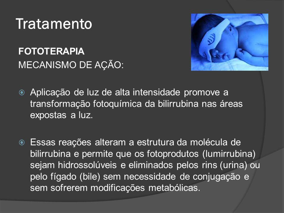 Tratamento FOTOTERAPIA MECANISMO DE AÇÃO: Aplicação de luz de alta intensidade promove a transformação fotoquímica da bilirrubina nas áreas expostas a