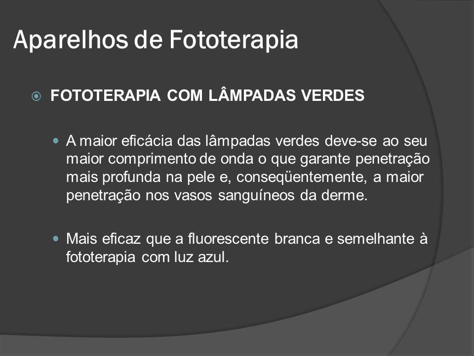 FOTOTERAPIA COM LÂMPADAS VERDES A maior eficácia das lâmpadas verdes deve-se ao seu maior comprimento de onda o que garante penetração mais profunda n