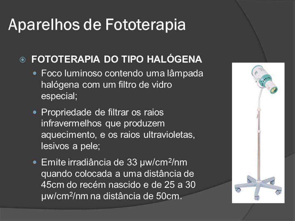 FOTOTERAPIA DO TIPO HALÓGENA Foco luminoso contendo uma lâmpada halógena com um filtro de vidro especial; Propriedade de filtrar os raios infravermelh