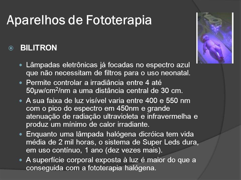 BILITRON Lâmpadas eletrônicas já focadas no espectro azul que não necessitam de filtros para o uso neonatal. Permite controlar a irradiância entre 4 a
