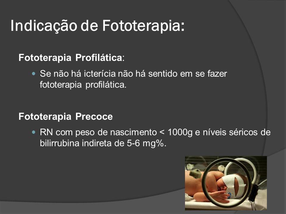 Fototerapia Profilática: Se não há icterícia não há sentido em se fazer fototerapia profilática. Fototerapia Precoce RN com peso de nascimento < 1000g