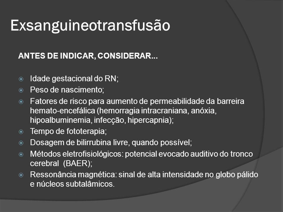 ANTES DE INDICAR, CONSIDERAR... Idade gestacional do RN; Peso de nascimento; Fatores de risco para aumento de permeabilidade da barreira hemato-encefá