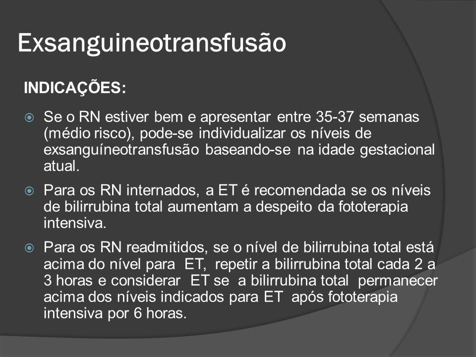 INDICAÇÕES: Se o RN estiver bem e apresentar entre 35-37 semanas (médio risco), pode-se individualizar os níveis de exsanguíneotransfusão baseando-se