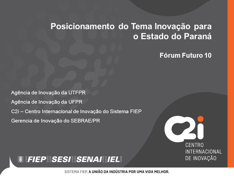 Posicionamento do Tema Inovação para o Estado do Paraná Fórum Futuro 10 Agência de Inovação da UTFPR Agência de Inovação da UFPR C2i – Centro Internac