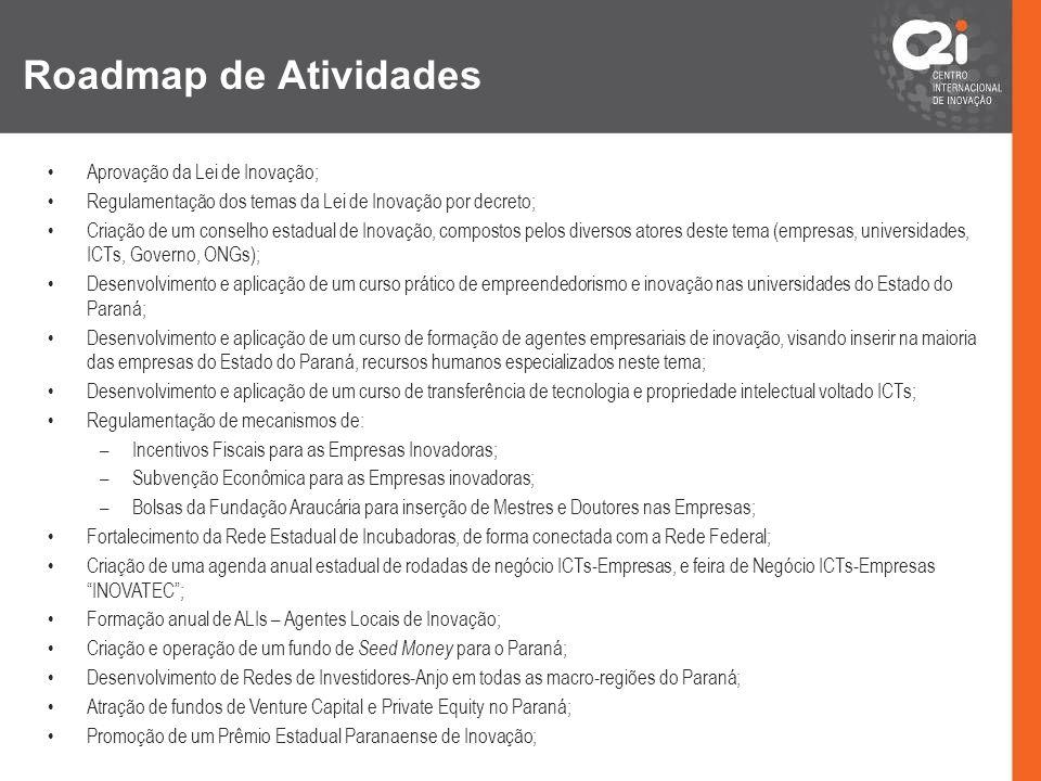 Roadmap de Atividades Aprovação da Lei de Inovação; Regulamentação dos temas da Lei de Inovação por decreto; Criação de um conselho estadual de Inovaç