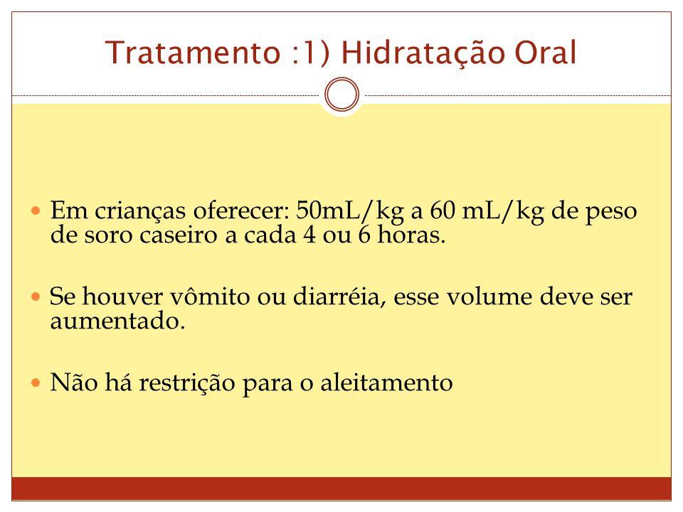 Tratamento :1) Hidratação Oral Em crianças oferecer: 50mL/kg a 60 mL/kg de peso de soro caseiro a cada 4 ou 6 horas.
