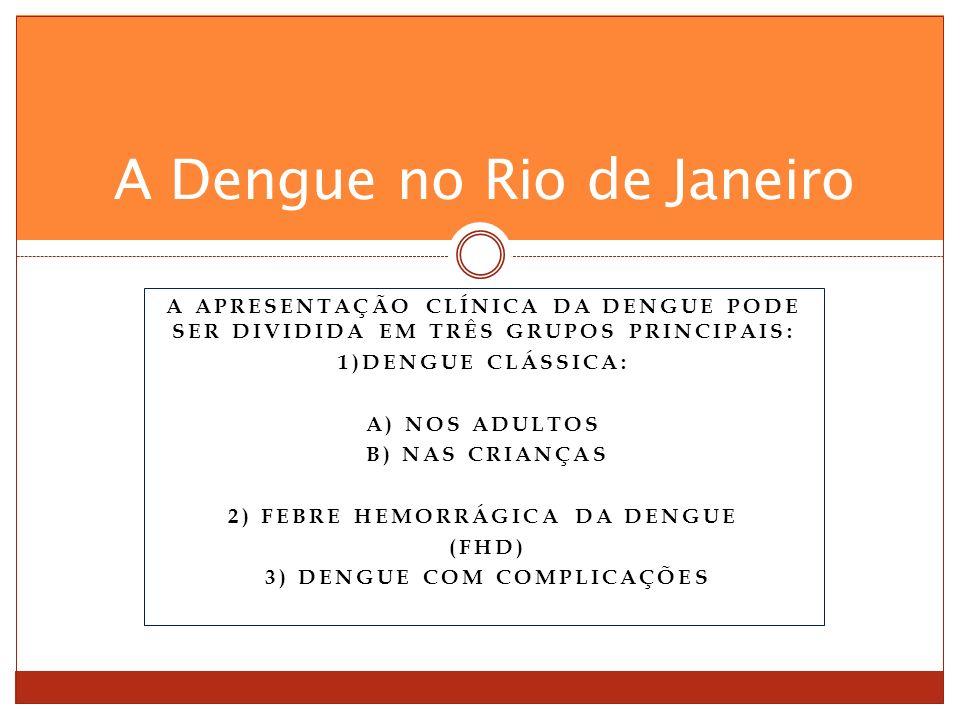 A APRESENTAÇÃO CLÍNICA DA DENGUE PODE SER DIVIDIDA EM TRÊS GRUPOS PRINCIPAIS: 1)DENGUE CLÁSSICA: A) NOS ADULTOS B) NAS CRIANÇAS 2) FEBRE HEMORRÁGICA DA DENGUE (FHD) 3) DENGUE COM COMPLICAÇÕES A Dengue no Rio de Janeiro