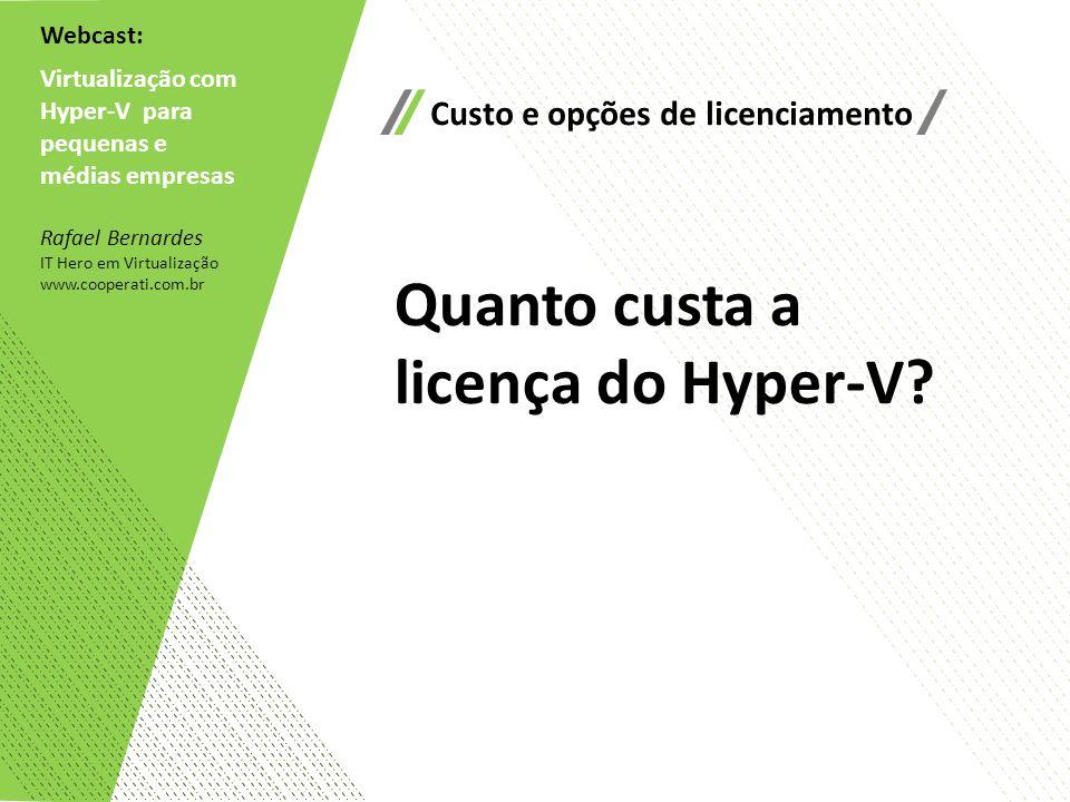 Webcast: Virtualização com Hyper-V para pequenas e médias empresas Rafael Bernardes IT Hero em Virtualização www.cooperati.com.br Custo e opções de li