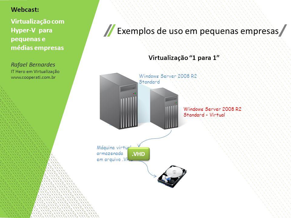 Webcast: Virtualização com Hyper-V para pequenas e médias empresas Rafael Bernardes IT Hero em Virtualização www.cooperati.com.br Exemplos de uso em p