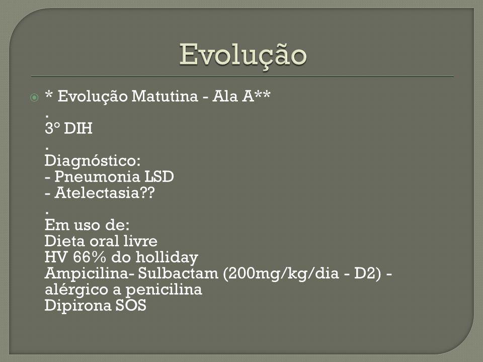 * Evolução Matutina - Ala A**. 3° DIH. Diagnóstico: - Pneumonia LSD - Atelectasia??. Em uso de: Dieta oral livre HV 66% do holliday Ampicilina- Sulbac