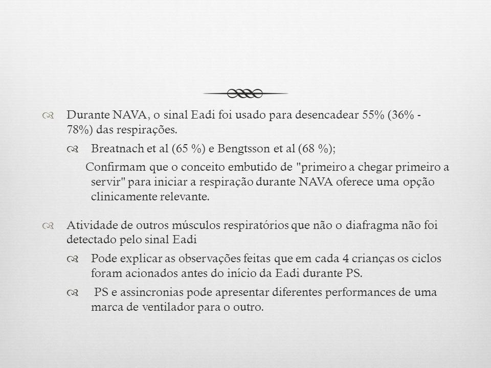 Durante NAVA, o sinal Eadi foi usado para desencadear 55% (36% - 78%) das respirações. Breatnach et al (65 %) e Bengtsson et al (68 %); Confirmam que