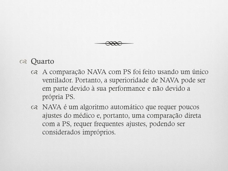 Quarto A comparação NAVA com PS foi feito usando um único ventilador. Portanto, a superioridade de NAVA pode ser em parte devido à sua performance e n