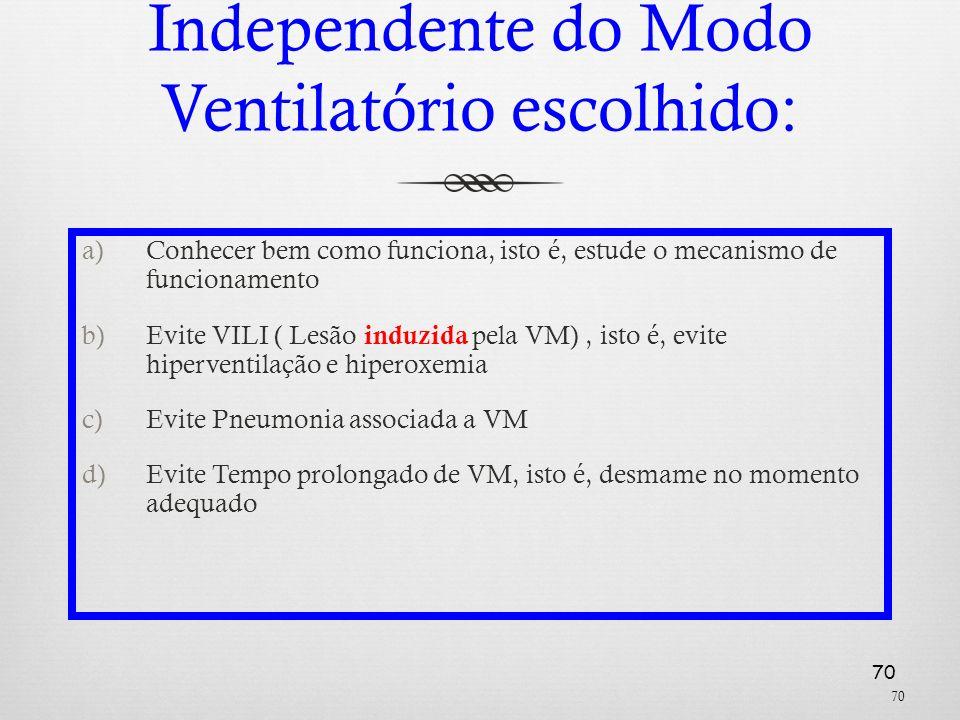 70 Independente do Modo Ventilatório escolhido: a)Conhecer bem como funciona, isto é, estude o mecanismo de funcionamento b)Evite VILI ( Lesão induzid