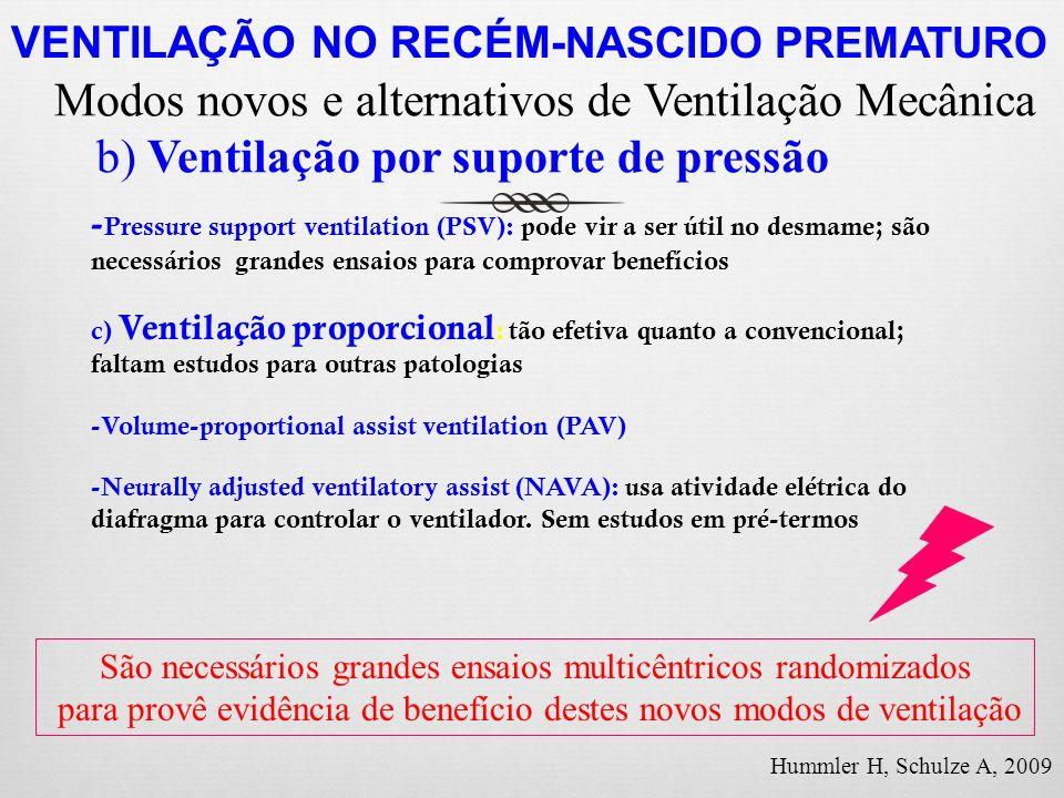 - Pressure support ventilation (PSV): pode vir a ser útil no desmame; são necessários grandes ensaios para comprovar benefícios c) Ventilação proporci