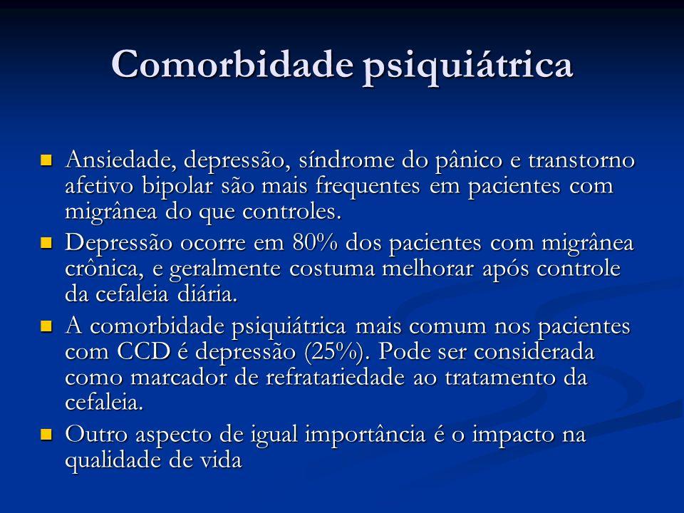 Comorbidade psiquiátrica Ansiedade, depressão, síndrome do pânico e transtorno afetivo bipolar são mais frequentes em pacientes com migrânea do que co