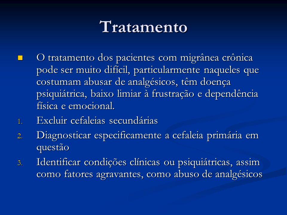 Tratamento O tratamento dos pacientes com migrânea crônica pode ser muito difícil, particularmente naqueles que costumam abusar de analgésicos, têm do