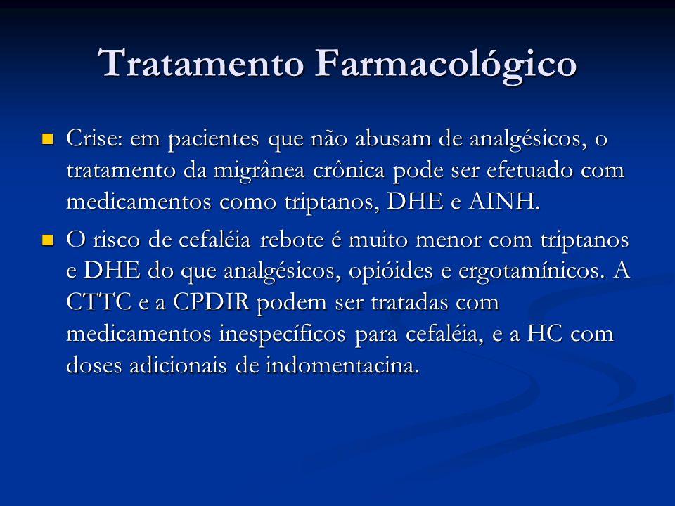 Tratamento Farmacológico Crise: em pacientes que não abusam de analgésicos, o tratamento da migrânea crônica pode ser efetuado com medicamentos como t