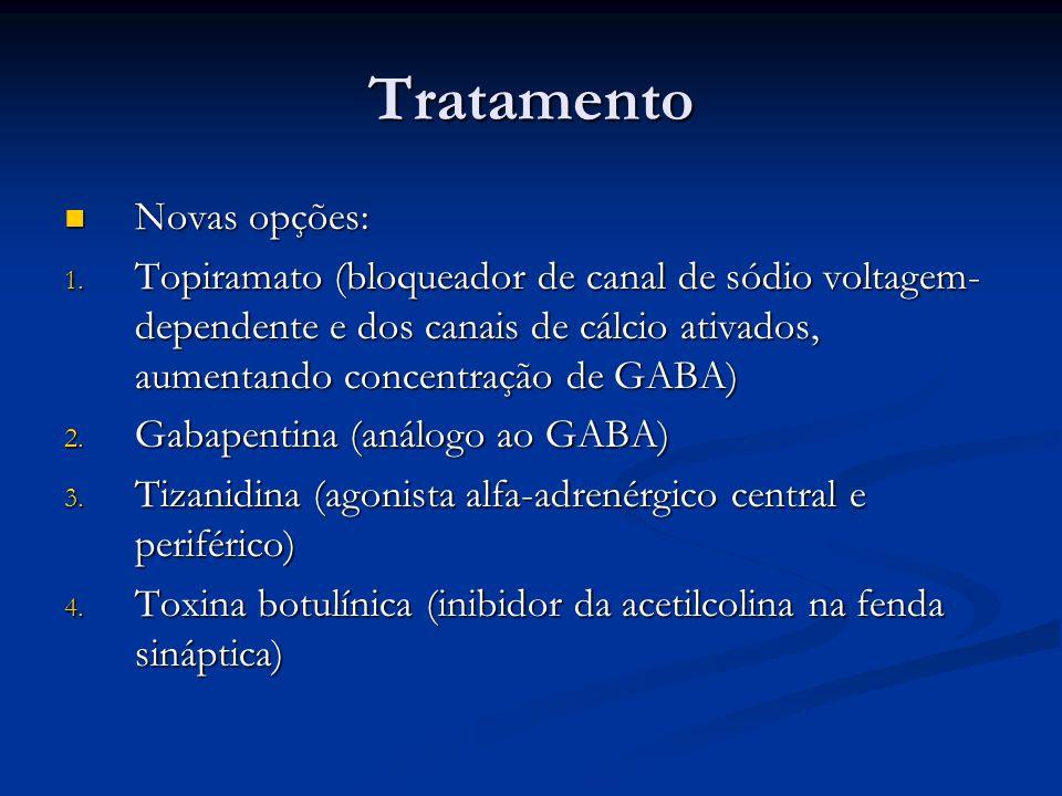 Tratamento Novas opções: Novas opções: 1. Topiramato (bloqueador de canal de sódio voltagem- dependente e dos canais de cálcio ativados, aumentando co