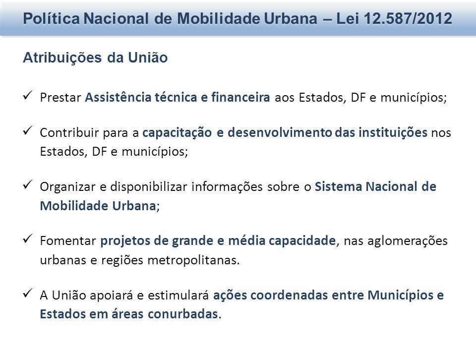 Política Nacional de Mobilidade Urbana – Lei 12.587/2012 Atribuições da União Prestar Assistência técnica e financeira aos Estados, DF e municípios; C
