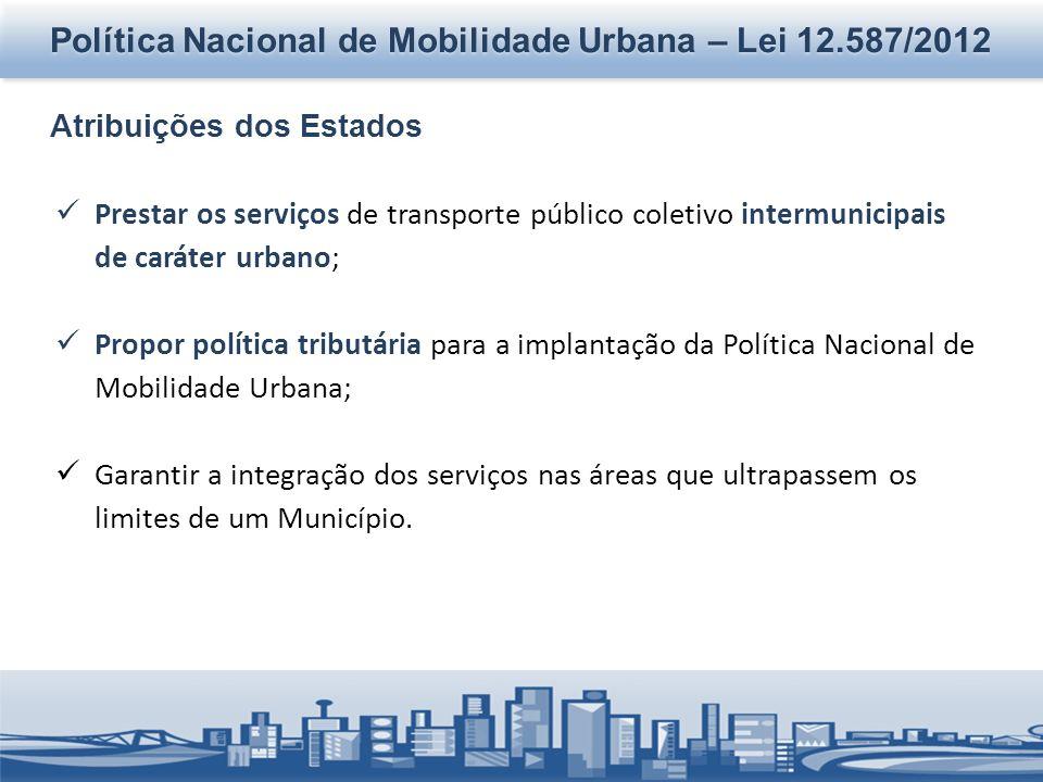 Política Nacional de Mobilidade Urbana – Lei 12.587/2012 Atribuições dos Estados Prestar os serviços de transporte público coletivo intermunicipais de