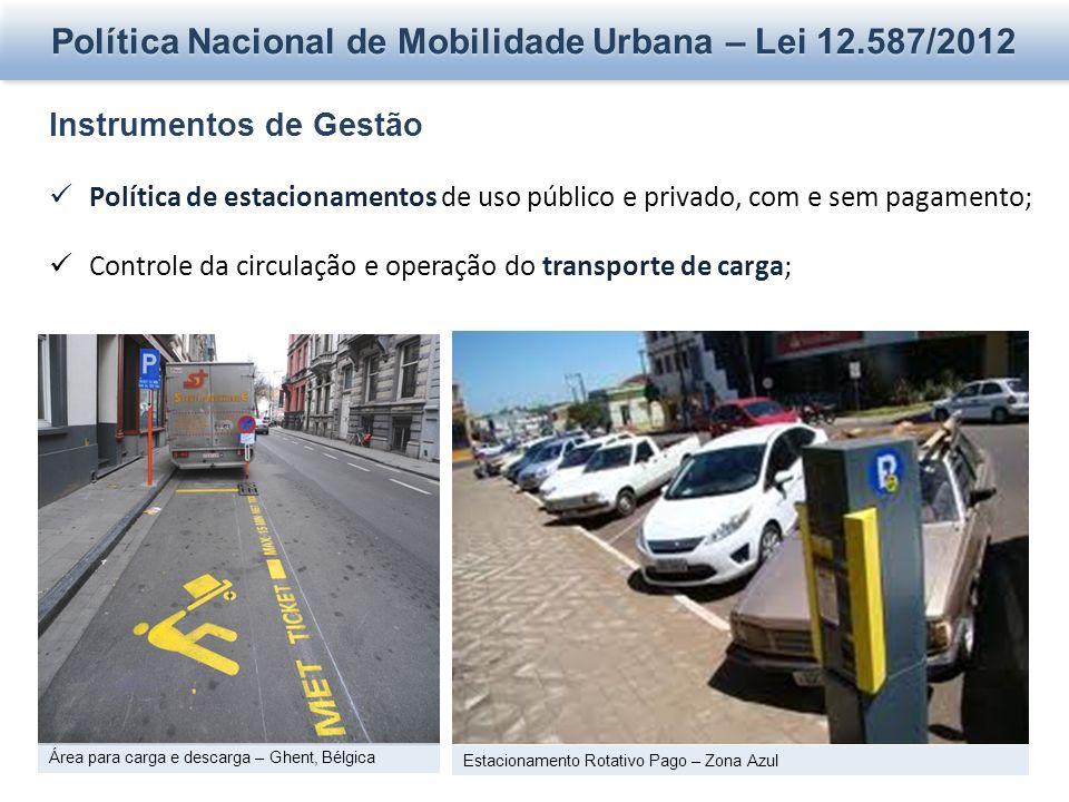 Política Nacional de Mobilidade Urbana – Lei 12.587/2012 Instrumentos de Gestão Política de estacionamentos de uso público e privado, com e sem pagame