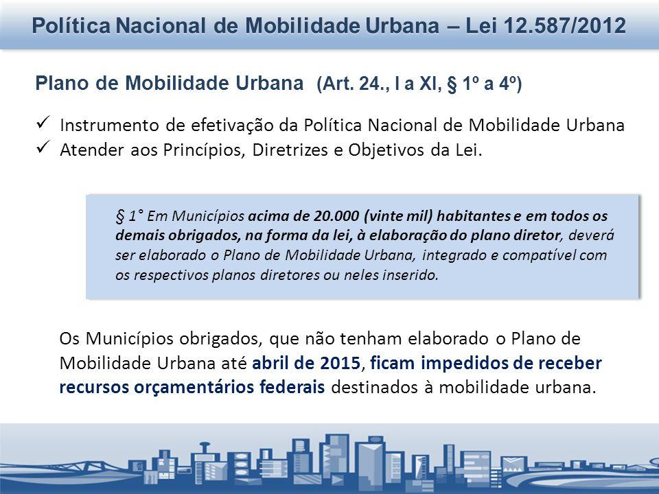 Política Nacional de Mobilidade Urbana – Lei 12.587/2012 Plano de Mobilidade Urbana (Art. 24., I a XI, § 1º a 4º) Instrumento de efetivação da Polític