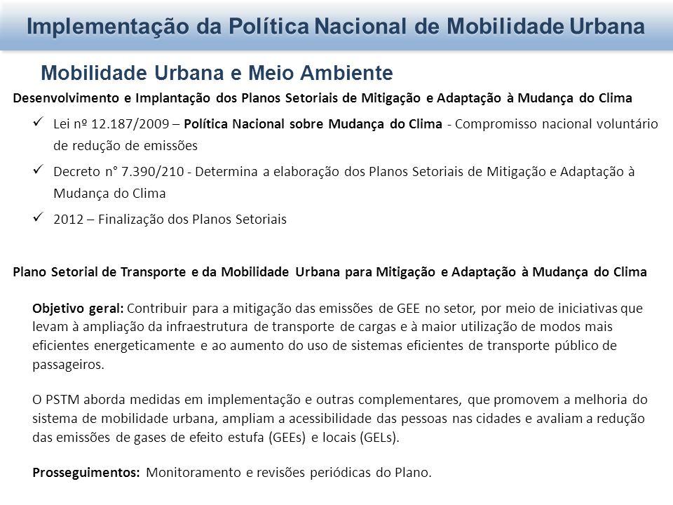Mobilidade Urbana e Meio Ambiente Desenvolvimento e Implantação dos Planos Setoriais de Mitigação e Adaptação à Mudança do Clima Lei nº 12.187/2009 –