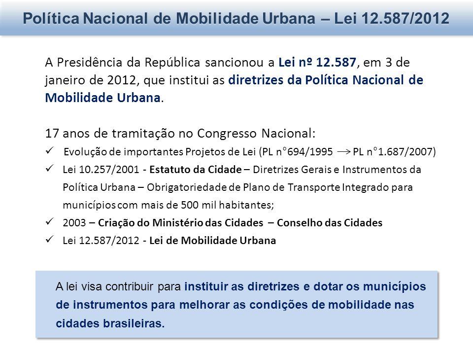 Política Nacional de Mobilidade Urbana – Lei 12.587/2012 A Presidência da República sancionou a Lei nº 12.587, em 3 de janeiro de 2012, que institui as diretrizes da Política Nacional de Mobilidade Urbana.