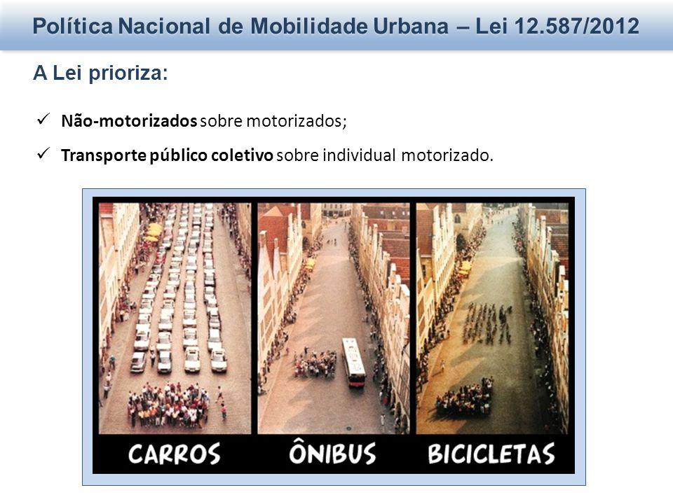 Política Nacional de Mobilidade Urbana – Lei 12.587/2012 A Lei prioriza: Não-motorizados sobre motorizados; Transporte público coletivo sobre individual motorizado.