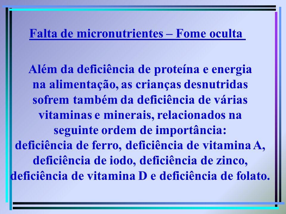 Além da deficiência de proteína e energia na alimentação, as crianças desnutridas sofrem também da deficiência de várias vitaminas e minerais, relacio