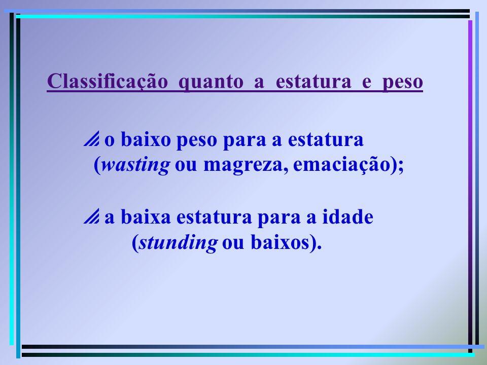 o baixo peso para a estatura (wasting ou magreza, emaciação); a baixa estatura para a idade (stunding ou baixos). Classificação quanto a estatura e pe