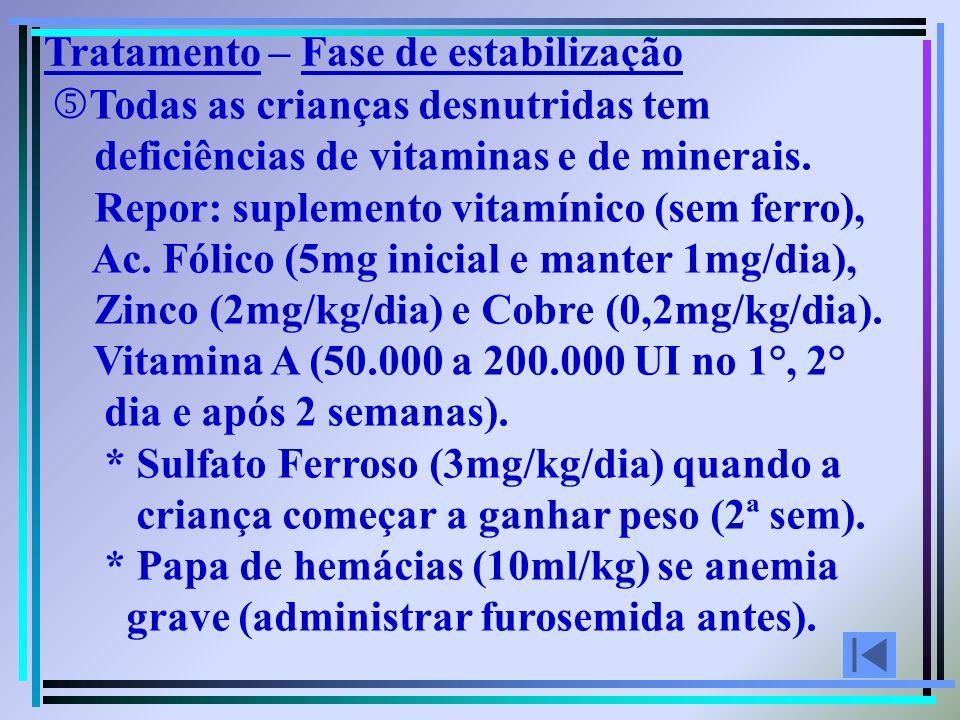 Todas as crianças desnutridas tem deficiências de vitaminas e de minerais. Repor: suplemento vitamínico (sem ferro), Ac. Fólico (5mg inicial e manter