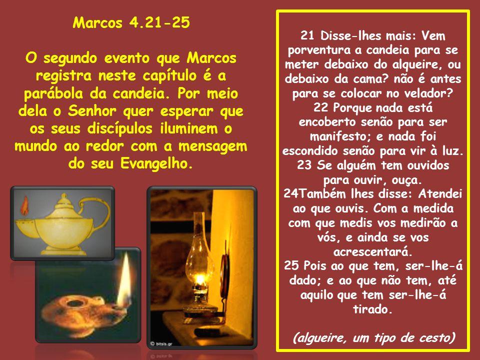 26 Disse também: O reino de Deus é assim como se um homem lançasse semente à terra, 27 e dormisse e se levantasse de noite e de dia, e a semente brotasse e crescesse, sem ele saber como.