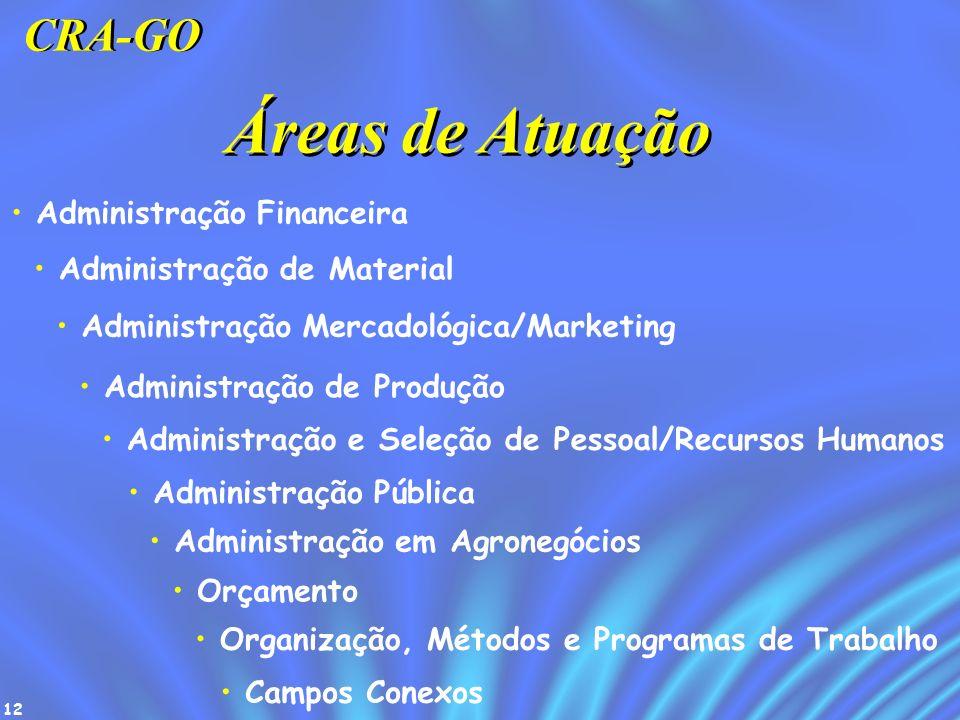 12 Áreas de Atuação Administração Financeira Administração de Material Administração Mercadológica/Marketing Administração de Produção Administração e