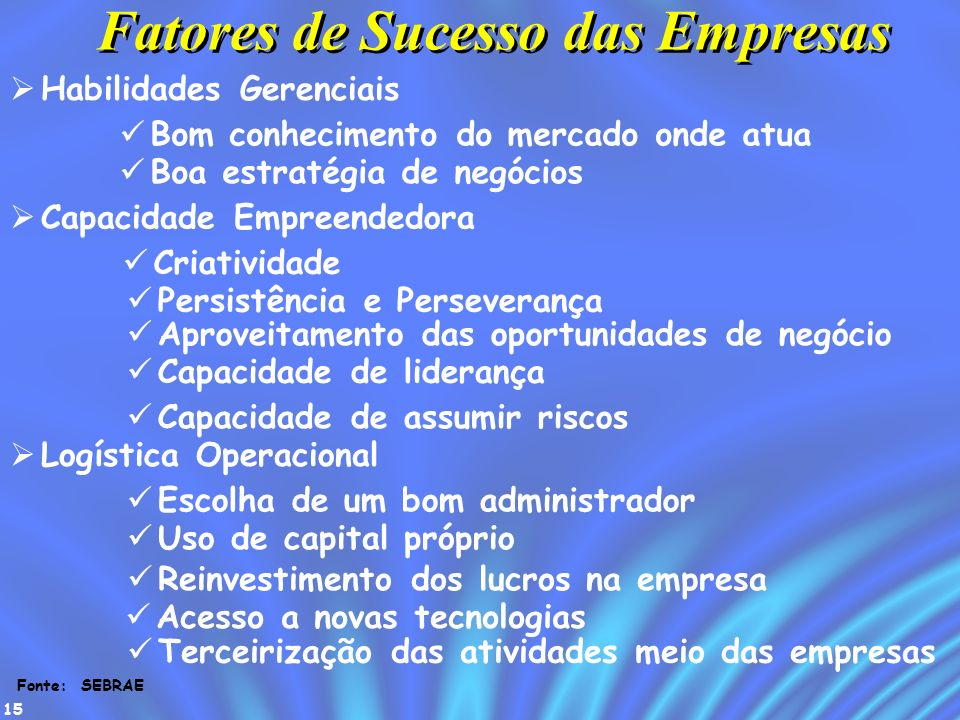 15 Fatores de Sucesso das Empresas Habilidades Gerenciais Capacidade Empreendedora Logística Operacional Bom conhecimento do mercado onde atua Boa est