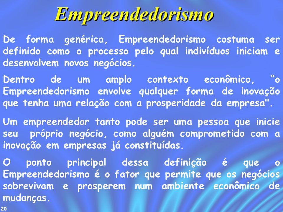 20 De forma genérica, Empreendedorismo costuma ser definido como o processo pelo qual indivíduos iniciam e desenvolvem novos negócios. Empreendedorism