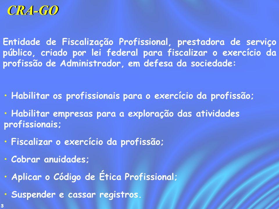 3 CRA-GO Entidade de Fiscalização Profissional, prestadora de serviço público, criado por lei federal para fiscalizar o exercício da profissão de Admi